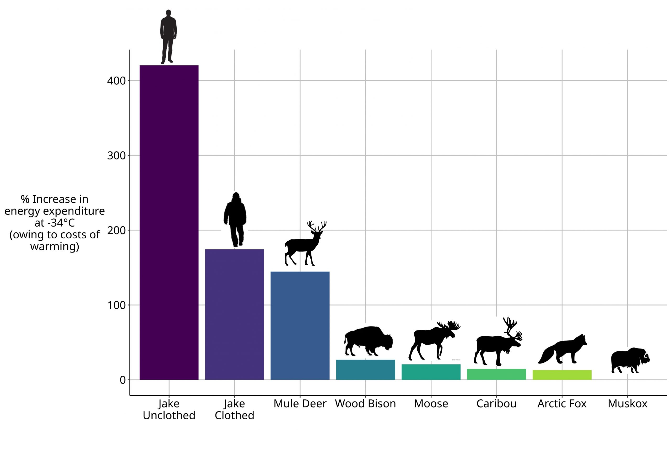 Bar graph showing relative energy use of wildlife and humans in Yukon.