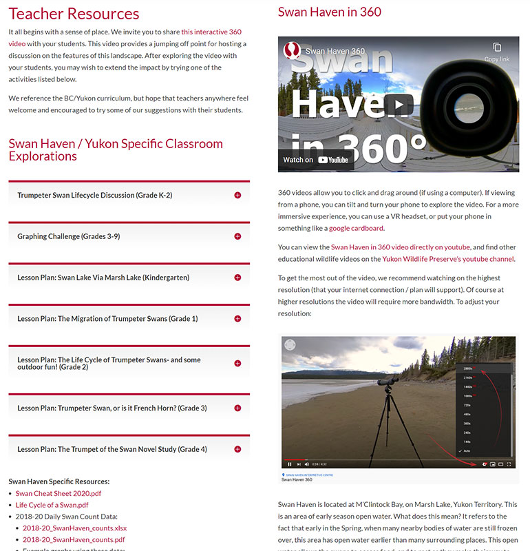 Screenshot of YWP's Swan Haven webpage