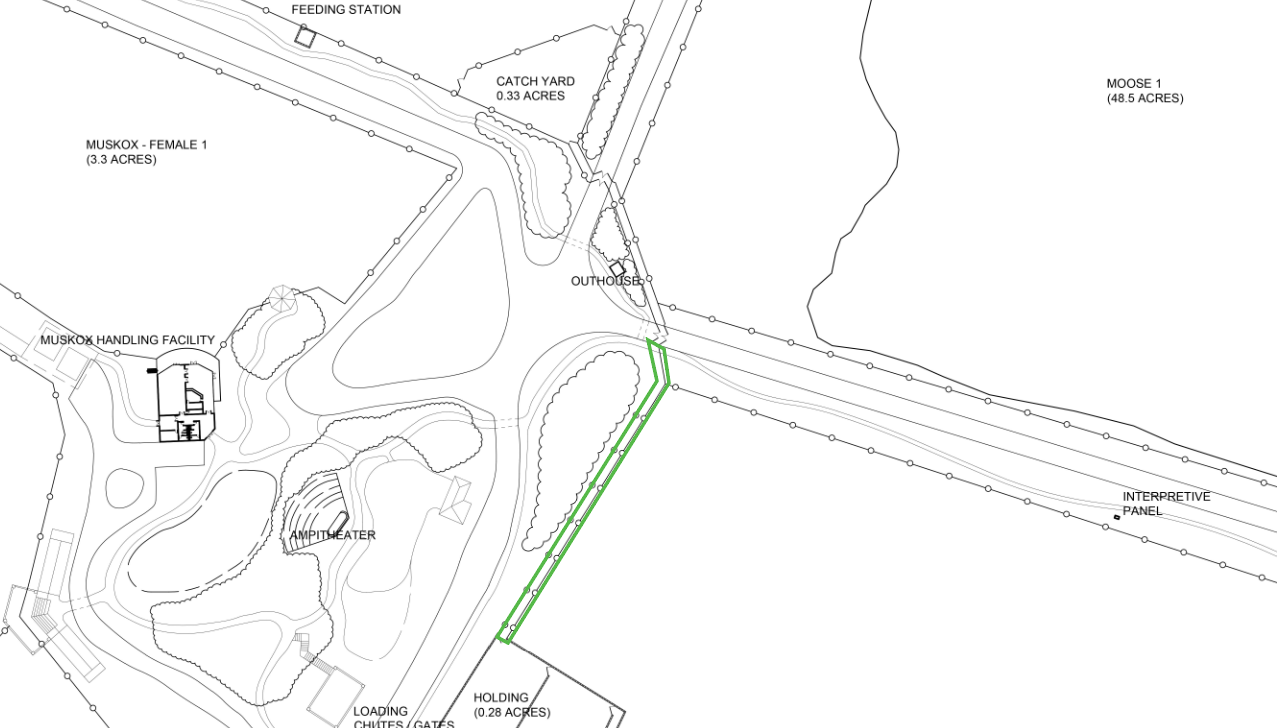 Map showing construction of new alleyway for animal handling.