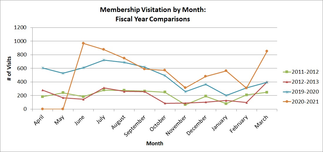 Line chart showing member visitation by month.